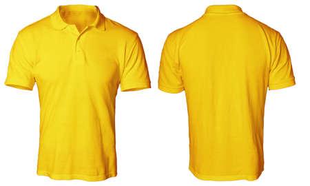 空白ポロシャツ ホワイト、プレーンのオレンジ t シャツ モックアップに分離されたテンプレート, 前面と背面ビューをモック。ポロ t シャツ デザイ 写真素材