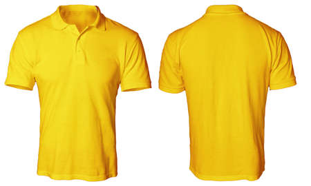 Blank polo shirt mock up template, front and back view, isolated on white, plain orange t-shirt mockup. Polo tee design presentation for print. Banque d'images