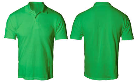 Blank polo shirt mock up template, front and back view, isolated on white, plain green t-shirt mockup. Polo tee design presentation for print. 版權商用圖片