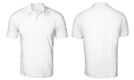 Blank polo shirt mock up template, front and back view, isolated on white, plain t-shirt mockup. Polo tee design presentation for print.