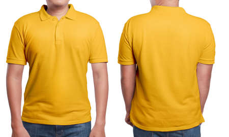 Orange polo t-shirt mock up, front and back view, isolated. Male model wear plain orange shirt mockup. Polo shirt design template. Blank tees for print Archivio Fotografico