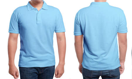 Blue polo t-shirt mock up, front and back view, isolated. Male model wear plain blue shirt mockup. Polo shirt design template. Blank tees for print