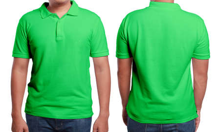 Green polo t-shirt mock up, front and back view, isolated. Male model wear plain green shirt mockup. Polo shirt design template. Blank tees for print Archivio Fotografico