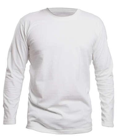 空白長い sleve てシャツ テンプレート、正面、ホワイト、プレーンの白 t シャツ モックアップに分離されたモックアップ。プリントの長袖の t シャ 写真素材