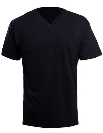 Blank V Neck Shirt Mock Up Template Front View Isolated On White