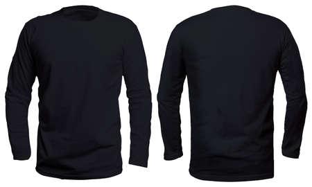 Leerer langärmeliger Hemdspott herauf die Schablonen-, Vorder- und Rückansicht, lokalisiert auf weißem, einfachem schwarzem T-Shirt Modell. Design-Präsentation für langärmelige T-Shirts für den Druck. Standard-Bild