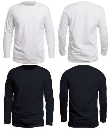 Blank long sleve shirt mock up template, front and back view, isolated on white, plain black and white t-shirt mockup. Long sleeved tee design presentation for print. Stock Photo