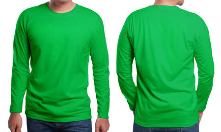 Green long sleeved t-shirt mock up, front and back view, isolated. Male model wear plain green shirt mockup. Long sleeve shirt design template. Blank tees for print