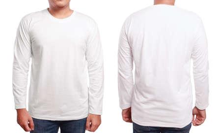 Weißes langärmliges T-Shirt Mock up, Vorder- und Rückansicht, isoliert. Männliches Modell tragen einfaches weißes Hemd Mockup. Langarmshirtentwurfsschablone. Leere T-Stücke für Druck Standard-Bild - 81253357