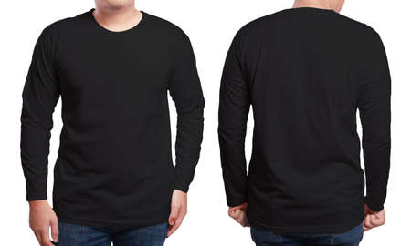 Black long sleeved t-shirt mock up, front and back view, isolated. Male model wear plain black shirt mockup. Long sleeve shirt design template. Blank tees for print Banco de Imagens - 81253360