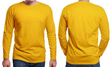 Orange long sleeved t-shirt mock up, front and back view, isolated. Male model wear plain orange shirt mockup. Long sleeve shirt design template. Blank tees for print Editorial