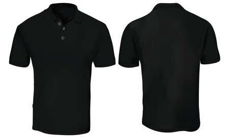 Black Polo Shirt Template 矢量图像