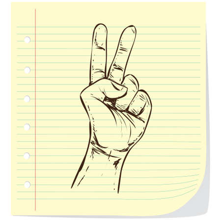 two: Hand gesture showing number two. Simple doodle hand drawn style Vector illustration.