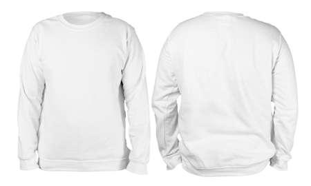 Leeg sweatshirt mock-up sjabloon, voor- en achteraanzicht, geïsoleerde, effen witte sweater met lange mouwen, mockup. T-shirt ontwerp presentatie. Jumper voor afdrukken. Sweater met blanco kleding Stockfoto