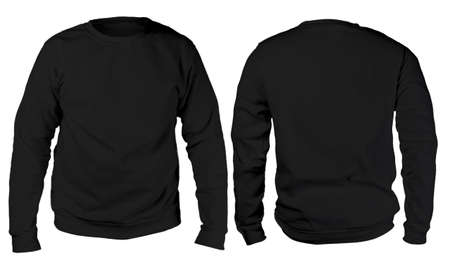 빈 운동복 템플릿, 전면 및 후면보기, 흰색, 일반 검정 긴 소매 스웨터 mockup 격리 된 모의. T- 셔츠 디자인 프리젠 테이션. 인쇄용 점퍼. 빈 옷 스웨터 스 스톡 콘텐츠