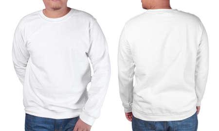 빈 운동복을 모의, 전면 및 후면보기, 화이트에 격리. 아시아 남성 모델 착용 일반 흰색 긴팔 스웨터 셔츠 모형. 인쇄용 스웨터 의류 티셔츠 점퍼 디자