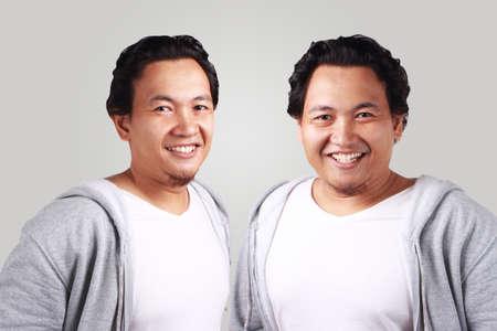 Portrait d'hommes jumeaux asiatiques minces et gras souriant avec confiance.