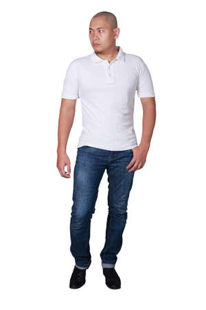 Male model wears plain white shirt mockup.