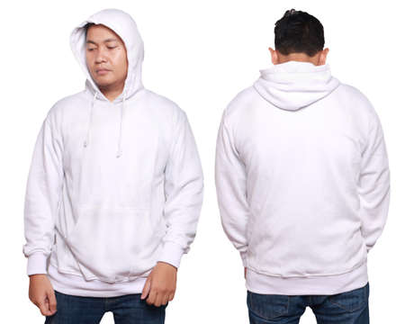 Blank sweatshirt mock up, front, and back view, isolated on white. Asian male model wear plain white long sleeved sweater shirt mockup. Sweat clothes t-shirt jumper design presentation for print Stockfoto
