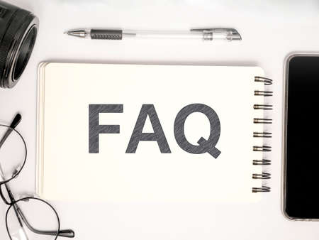 FAQ, Frequently Asked Questions. Motivational internet business words quotes lettering typography concept