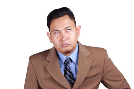 Portrait young Asian man bored with eyes glance up, saturated, lazy guy, tired businessman, isolated on white