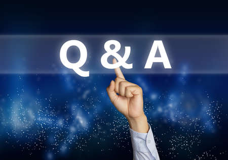 Q & A, Questions and Answers. Motivational internet business words quotes lettering typography concept. Businessman click button on virtual screen