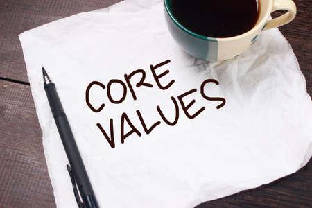 Core Values, business ethics motivational inspirational quotes, words typography concept Foto de archivo