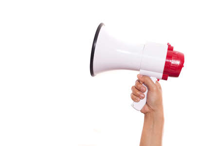 Hand holding megaphone isolated on white background with copy space for your text, Marketing promotion announcement concept Banco de Imagens