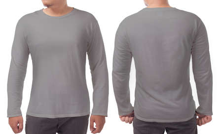 Gray long sleeved t-shirt mock up, front and back view, isolated. Male model wear plain grey shirt mockup. Long sleeve shirt design template. Blank tees for print