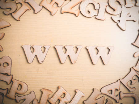 WWW World Wide Web in wooden words letter, internet business typography quotes concept
