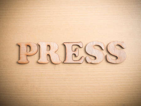 Press in wooden words letter, business typography quotes concept