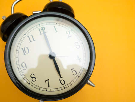 Close up image of alarm clock, time concept, deadline urgency concept Banco de Imagens