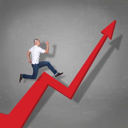 Pportrait of Asian businessman running trough business growth arrow, financial profit success concept