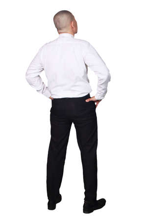 Young businessman wearing white suit and black pants thinking gesture. Isolated on white. Full body portrait