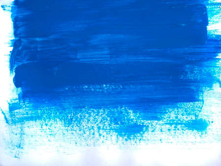 Blue acrylic paint stroke isolated on white background, abstract art concept