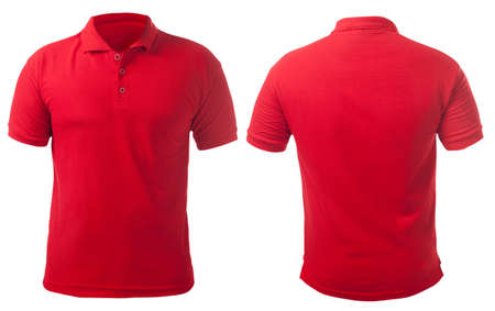 Blank collared shirt mock up template, front and back view, isolated on white, plain red t-shirt mockup. Polo tee design presentation for print.