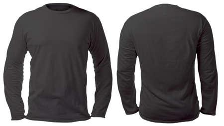 Leere, langärmelige T-Shirt-Mock-up-Vorlage, Vorder- und Rückansicht, isoliert auf weißem, schlichtem schwarzem T-Shirt-Modell. T-Pullover Sweatshirt-Design-Präsentation für den Druck.