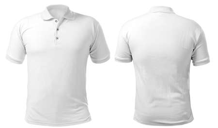 Blank collared shirt mock up template, front and back view, isolated on white, plain t-shirt mockup. Polo tee design presentation for print. 版權商用圖片 - 115655159