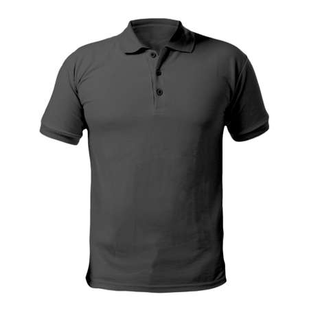 Blank collared shirt mock up template, front  view, isolated on white, plain black t-shirt mockup. Polo tee design presentation for print.