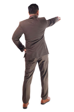 Young businessman wearing brown suit looking forward gesture, rear view. Isolated on white. Full body portrait Imagens