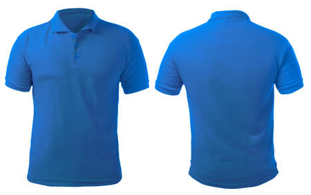 Blank collared shirt mock up template, front and back view, isolated on white, plain blue t-shirt mockup. Polo tee design presentation for print. 免版税图像