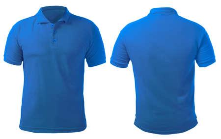 Camicia con colletto bianco mock up modello, vista anteriore e posteriore, isolato su bianco, semplice modello di t-shirt blu. Presentazione del design della t-shirt polo per la stampa.