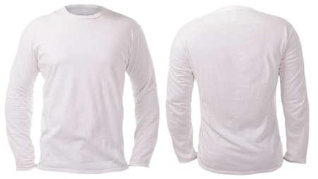 Blanco shirt met lange mouwen mock up sjabloon, voor- en achteraanzicht, geïsoleerd op wit, effen t-shirt mockup. Tee sweater sweatshirt ontwerp presentatie om af te drukken.