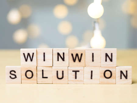 Win-Win Solution words letter. Motivational business writing typography quotes concept Banque d'images