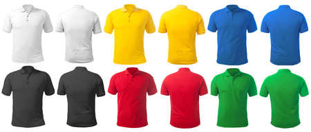 Blank collared shirt mock up template, front and back view, isolated on white, plain t-shirt mockup in many color. Polo tee design presentation for print.