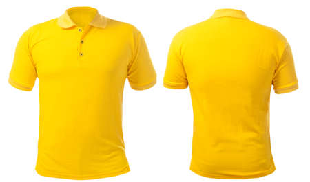 Blank collared shirt mock up template, front and back view, isolated on white, plain yellow t-shirt mockup. Polo tee design presentation for print.