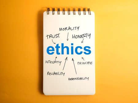 Ethik. Motivierende inspirierende Geschäftswörter zitiert Schrifttypografiekonzept