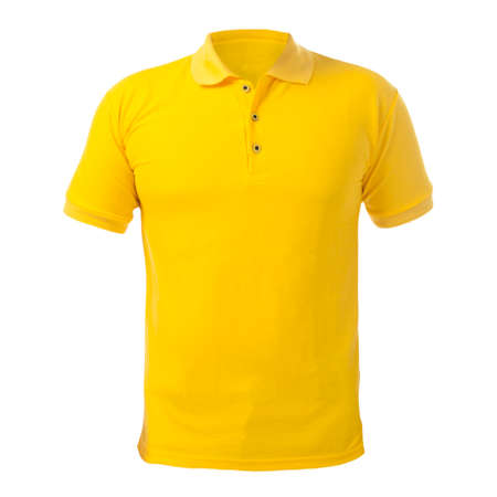 Blank collared shirt mock up template, front  view, isolated on white, plain yellow t-shirt mockup. Polo tee design presentation for print.