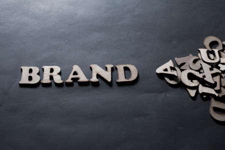 Marca. Palabras de marketing empresarial inspirador motivacional cotizaciones concepto de tipografía de letras