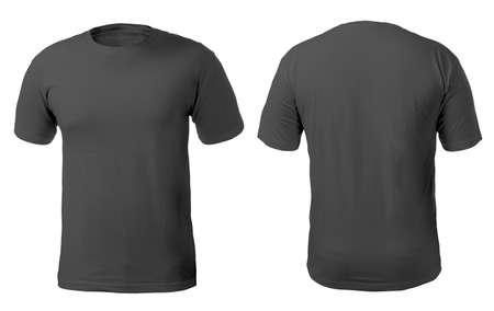 Blanco zwart shirt mock up sjabloon, voor- en achteraanzicht, geïsoleerd op wit, effen t-shirt mockup. Tee sweater sweatshirt ontwerp presentatie om af te drukken.
